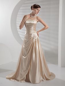 A-line Elastic Woven Satin Wedding Dress.  Get unbelievable discounts up to 60% Off at Milanoo using Coupon & Promo Codes.