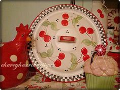 Red white enamel ware lid towel holder by from my cherry heart, via Flickr