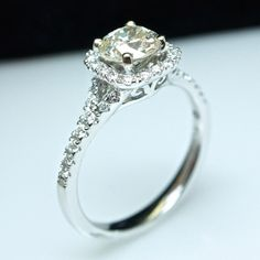 Solitaire Halo 1.4cttw Diamond Engagement by JamieKatesJewelry