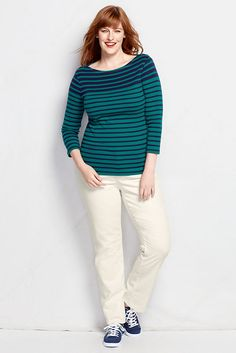 Women's 3/4-sleeve Button Boatneck Top - cute buttons at the shoulders. The ultra-fine rib fabric feels soft, yet never clingy. And it'll flatter you year-round. 100% cotton. Machine wash. Imported.  Features      Soft, cling-free rib knit     Classic boatneck styling     Distinctive button detail at the shoulders (buttons are non-functional)     Yarn-dyed stripes keep their color     Season-spanning three-quarter sleeves     Falls to mid hip
