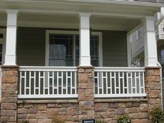 craftsman porch railing railing ideas for porch craftsman porch railing photo 8 of 8 exterior design porch rail design craftsman front porch railing Wood Porch Railings, Porch Railing Designs, Balcony Railing, Railing Ideas, Porch Designs, Porch Handrails, Patio Stairs, Style At Home, Craftsman Front Porches