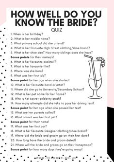 Our originally written How Well Do You Know The Bride Hen Party Quiz is a great game for all ages. Simply answer the questions about the bride as best you can! Work in teams for a great icebreaker gam Wedding Party Games, Hen Party Games, Bridal Games, Wedding Shower Games, Bridal Shower Party, Wedding Reception Games, Lingerie Party Games, Hen Night Games, Hen Games