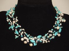 Floating necklace turquoise white for sale Turquoise Necklace, Handmade Jewelry, Necklaces, Fashion, Moda, La Mode, Teal Necklace, Chain, Fasion