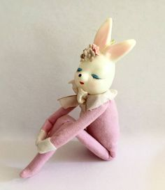 Vintage Knee Hugger Girl, Bunny Rabbit, Easter Toy, Google Eyed Bunny Doll, Label Commonwealth of Pennsylvania, Made in Japan, Circa 1950s