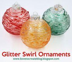 iLoveToCreate Blog: Glitter Swirl Glass Ornaments DIY  #ornaments #craft #christmas
