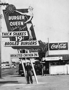 """FlaAve at Osborne in Seminole Heights. This sign features a beauty queen! This photo is among 200 in my new book """"Vintage Tampa Signs and Scenes"""". In thos photo, John F Cinchett is standing next to his latest neon creation! Vintage Diner, Look Vintage, Vintage Ads, Vintage Photos, 50s Diner, Vintage Items, Mcdonald's Restaurant, Restaurant Photos, Vintage Restaurant"""