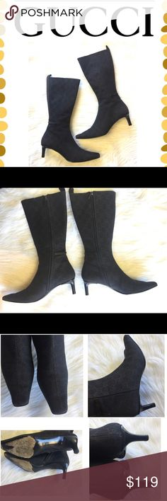 Authentic Gucci boots Dark navy blue with dark brown Gucci logos all over. Side zippers. Size 8.5B but run like 7 or 7.5. Super cute and classy. Small kitten heel. Very good condition. Some wear on soles. No box Gucci Shoes Ankle Boots & Booties