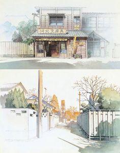 Street scenery from Hayao Miyazaki's Ghibli film 'Only Yesterday' Animation Background, Art Background, Art Studio Ghibli, Bg Design, Illustrations, Illustration Art, Poses References, Environment Concept Art, Fantasy Landscape