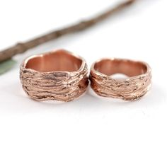 A variation of my popular tree bark wedding rings inspired by the venerable giant redwoods. It is a heavier and wider tree bark texture and was originally made in rose gold - hence the Redwood - but is also available in other recycled metals. Wedding Band Sets, Wedding Rings, Gold Wedding, Forest Wedding, Tree Bark, Handmade Jewelry, Unique Jewelry, Rings For Men, Rose Gold
