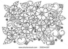 Doodle Floral Pattern In Black And White Page For Coloring Book Very Interesting Relaxing Job Children Adults Flower Carpet Magic Garden