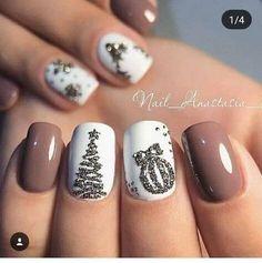 Holiday Acrylic Nails, Christmas Gel Nails, Christmas Nail Art Designs, Cute Acrylic Nails, Holiday Nails, Christmas Christmas, Christmas Ideas, Christmas Makeup, Nagellack Design