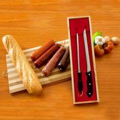 Couteau à Jambon et Aiguiseur (Étui Bois) - MisterDiscount