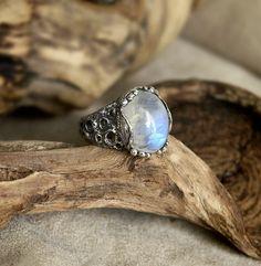 925 Sterling Silver Ring Moonstone Ring Moon Way by BlackTreeLab