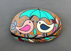 PAINTED BEACH STONE / Pebble Art / Dot Painted by NatureParadise