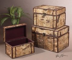 This set of boxes is made of real birch bark accented with palm branches. Sizes: Sm-16x10x11, Med-18x13x12, Lg-21x15x14