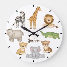 Safari Jungle Animals Baby Nursery Kids Room Large Clock | Zazzle.com