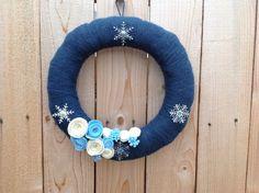 Yarn wreath winter wreath 14 inch door hanger by GAGirlDesigns, $32.00