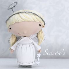 Items similar to Holiday Card, Angel, Girl, Star, Season's Greetings on Etsy