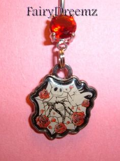 Jack Skellington in Red ROSES With ZERO From NIGHTMARE Before Christmas Disney Belly Navel Ring Body Jewelry