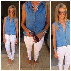 Denim shirt Denim Shirt, White Jeans, Capri Pants, Khaki Pants, Stitch, Stylish, Spring, Summer, How To Wear