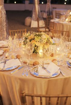 Tuscany Wedding from Italia Celebrations + Cinemate Reception Table, Reception Decorations, Event Decor, Wedding Centerpieces, Table Decorations, Wedding Reception, Silver Charger Plates, Elegant Dining, Wedding Table Settings
