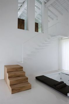 homedecor stairs Staircase ideas - design and layout ideas to inspire your own staircase remodel painted diy, decorating basement remodel pictures - moder staircase ideas Architecture Design, Stairs Architecture, Staircase Design, Staircase Ideas, White Staircase, Wood Staircase, Escalier Design, Casa Loft, Staircase Remodel