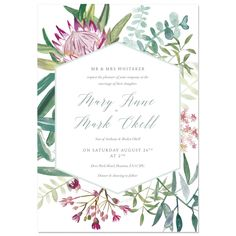 Wedding Invitation with Picture Beautiful Protea Botanical Wedding Invite Sample by Hollyhock Lane Wedding Invitations With Pictures, Botanical Wedding Invitations, Wedding Invitation Samples, Luxury Wedding Invitations, Flower Invitation, Watercolor Wedding Invitations, Wedding Stationary, Watercolour Invites, Birthday Invitations