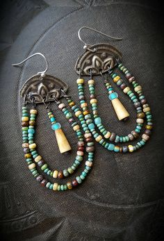 Fringe, Glass, Kuchi, Banjara, Stampings, Brass, Old World Beads, Loop, Hoop, Beaded, Bone, Bell, Beaded Earrings by YuccaBloom on Etsy