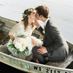 Wedding portraits in a canoe photographed by Jenna Kutcher. Bohemian Wedding Inspiration, Whimsical Wedding, Boho Bride, Dance The Night Away, Canoe, Wedding Portraits, Flower Crown, Wedding Details, Wedding Styles