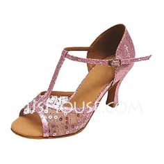 Sapatos de dança - Couro sintético Tecido Couro envernizado Saltos Sandálias Latino Salão de Baile Sapatos de dança com Correia -T