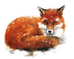 Winter Red Fox - Aquarelle de Mira Guerquin