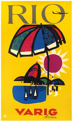 1965 Rio de Janeiro  by Varig Airlines, Brazil vintage travel poster