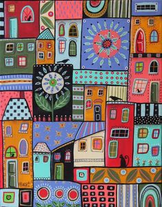 Odds And Ends 11x14inch ORIGINAL CANVAS PAINTING Folk Art Abstract HOUSES KarlaG #FolkArtAbstractPrimitive