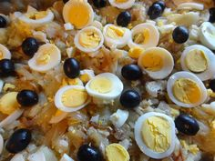 Bacalhau a Gomes de Sa - casserole of Cod Fish, potatoes, eggs, olives, olive oil and onion. It is a speciality from the northern Portuguese city of Porto