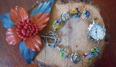 orologio con vetrini millefiori colorati e metallo nickel free
