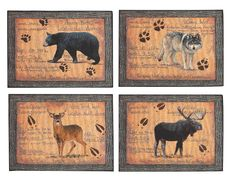 country placemats | Set of 4 Country Hunting Certificate Placemats; Deer Wolf Moose & Bear ...