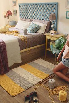 """SUSIMIU. Tutorial para tejer a dos agujas con remate en ganchillo una alfombra rectangular de Algodón """"Cotton Air"""""""