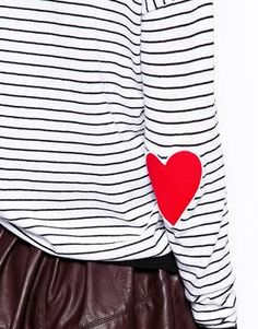 Stripe Sweater With Heart Elbow Patch / Um, that's adorable. Autumn Inspiration, Style Inspiration, Elbow Patches, Playing Dress Up, Sewing Projects, Cool Outfits, Arts And Crafts, Stripes, Crafty