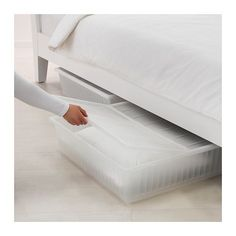 GIMSE Underbed storage box IKEA Turns the space under your bed into a smart place for storing. The lid keeps dust out of the box.