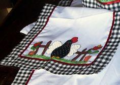 jogo de cozinha com galinha de angola