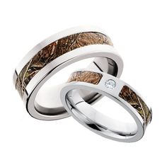 Want matching camo wedding rings? You'll love this pair! His ring is an 8 mm Cobalt Chrome band inlaid with 4 mm of camo and Hers is a 6 mm Cobalt Chrome band inlaid with 3 mm of camo with a bezel set diamond in between. Camo Wedding Bands, Wedding Sets, Wedding Rings, Camo Engagement Rings, Camo Rings, Thing 1, Unique Rings, The Ordinary, Diamond Rings