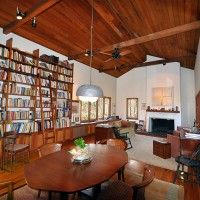 Custom site-designed home by architect W. Crutcher Ross. Cypress vaulted ceilings, custom cherry wood built-ins.