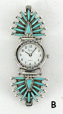 Zuni needlepoint sterling silver and turquoise watch by Lance and Cordelia Whaatsa