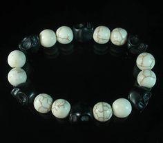 Turquoise Dark Black Skull White ball Bead Prayer Mala Stretch Bracelet 101