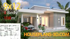 House design Plans with 3 Bedrooms terrace roof - House Plans House Design 3d, House Design Pictures, Simple House Design, Bungalow House Design, Simple House Plans, New House Plans, Flat Roof House, Three Bedroom House Plan, Architectural House Plans