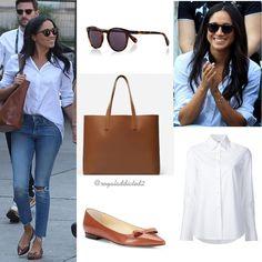 "26 Likes, 1 Comments - Royal Addicted (@royaladdicted2) on Instagram: ""Meghan Markle Style! Shirt: Misha Nonoo (""Husband"" shirt); Jeans: Mother; Shoes: Sarah Flint; Bag:…"""