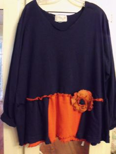 Orange and Blue/1X/Upcycled Game Day Tunic/Funky by SheerFab, $60.00