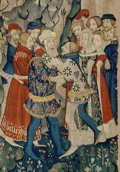 L'Incontro di Fromont e Gerart e il suo restauro, tapisserie,musée civique de padoue, fin 14e