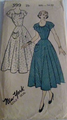 8ed516776a11 New York 399 Womens 40s Vintage Dress Sewing Pattern with Kimono Sleeves  Bust 32
