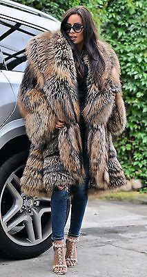 ROYAL FOX FUR SWINGER COAT CLASS CHINCHILLA SABLE MINK SILVER LONG JACKET PONCHO